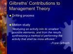 gilbreths contributions to management theory