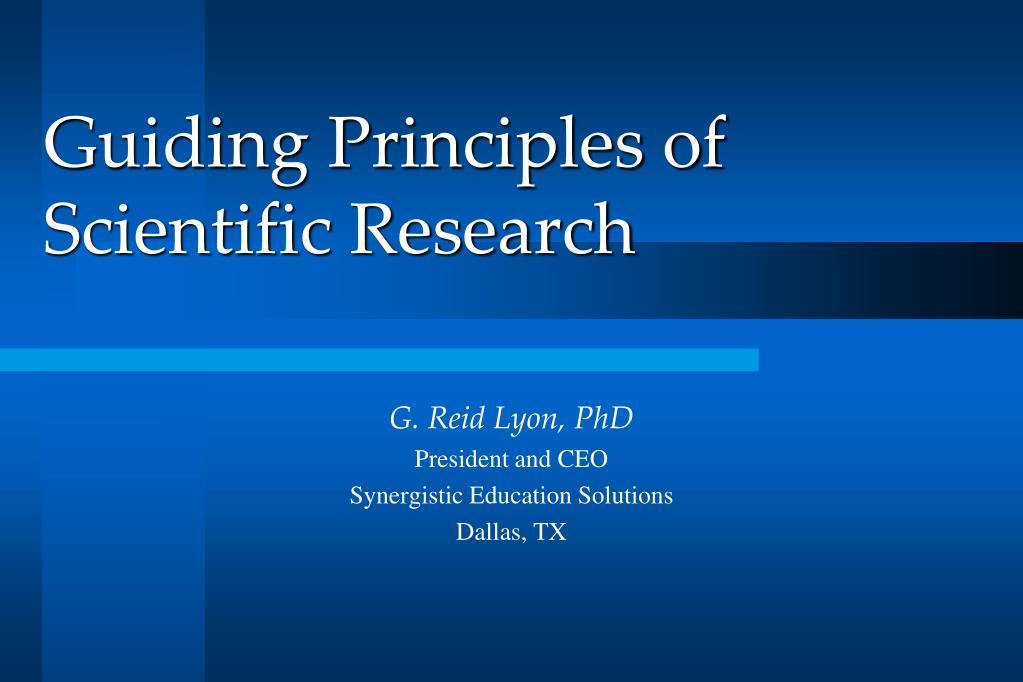 Guiding Principles of