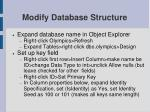 modify database structure