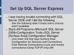 set up sql server express