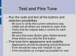 test and fine tune