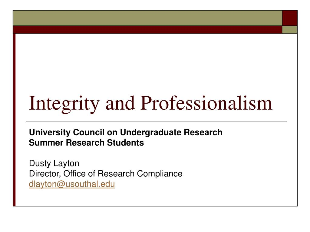 integrity and professionalism l.