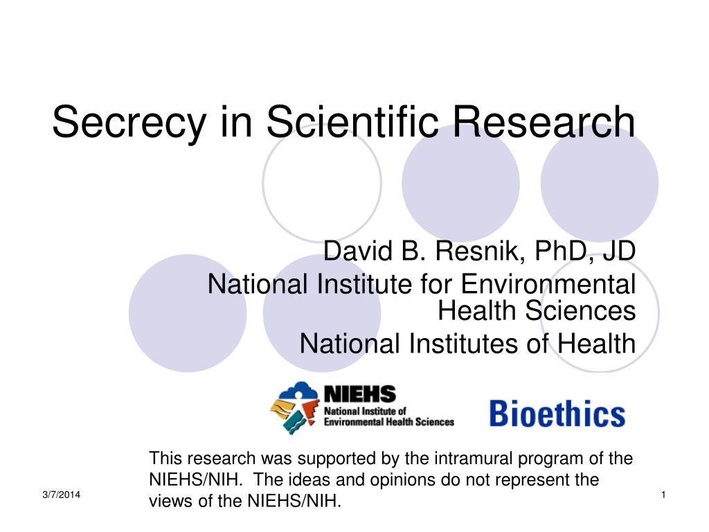 secrecy in scientific research l.