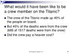 what would it have been like to be a crew member on the titanic