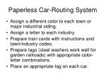 paperless car routing system