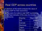 real gdp across countries