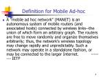 definition for mobile ad hoc