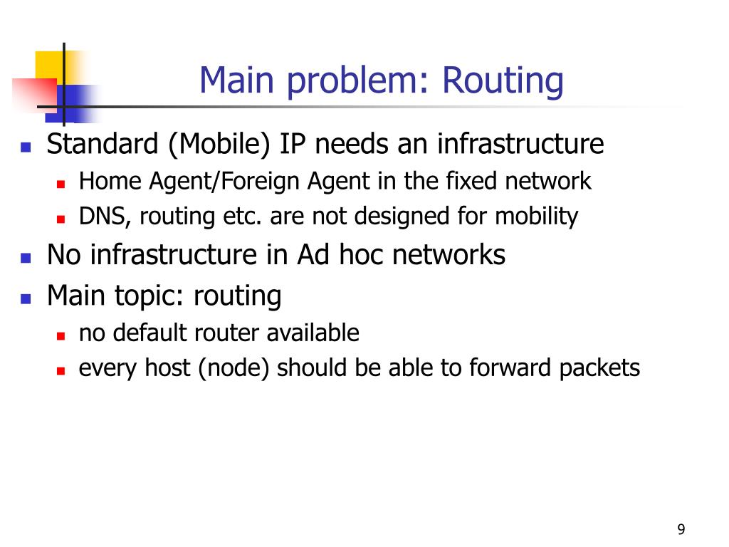 Main problem: Routing