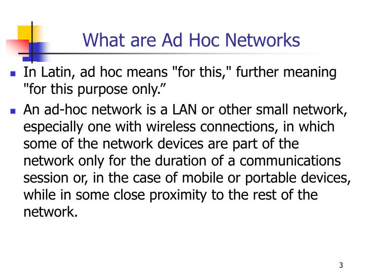 What are ad hoc networks
