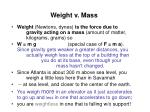 weight v mass