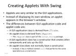 creating applets with swing