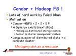 condor hadoop fs