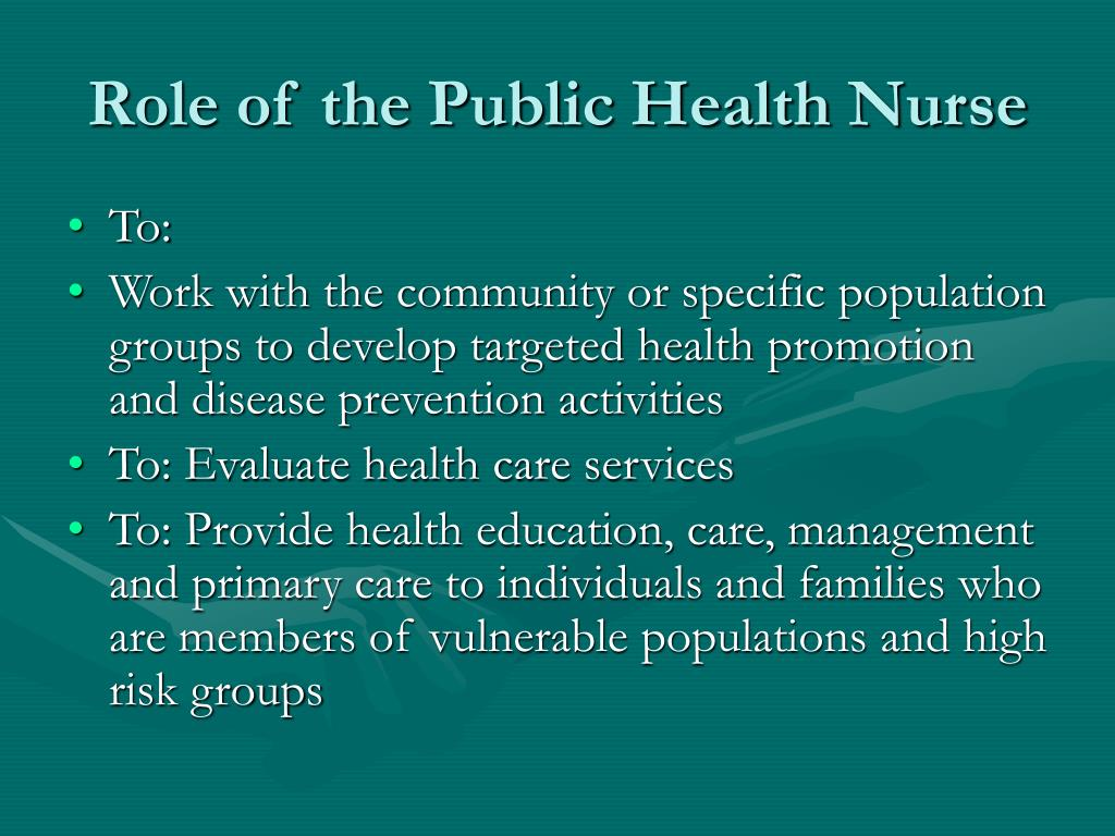 PPT - THE ROLE OF NURSING IN PUBLIC HEALTH PowerPoint ...