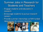 summer jobs in research for students and teachers
