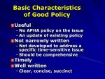 basic characteristics of good policy