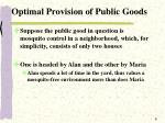optimal provision of public goods