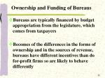 ownership and funding of bureaus