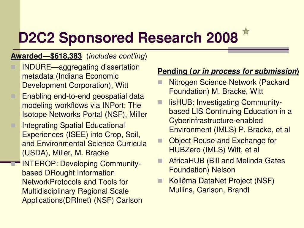 D2C2 Sponsored Research 2008
