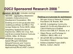 d2c2 sponsored research 2008