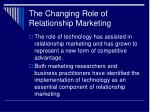 the changing role of relationship marketing