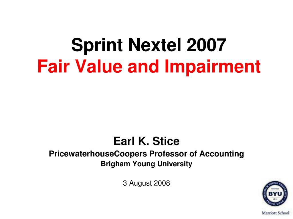 sprint nextel 2007 fair value and impairment l.