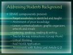 addressing students background