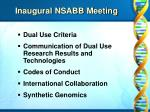 inaugural nsabb meeting