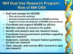 nih dual use research program role of nih oba
