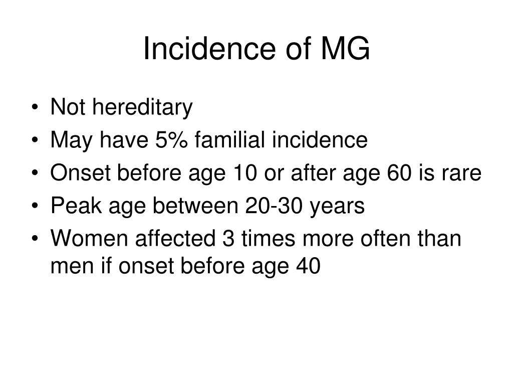 Incidence of MG
