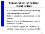 considerations for building expert systems