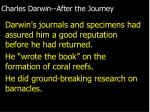charles darwin after the journey