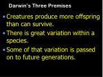 darwin s three premises