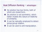 heat diffusion ranking advantages