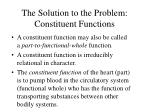 the solution to the problem constituent functions