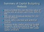 summary of capital budgeting methods