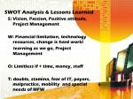 swot analysis lessons learned