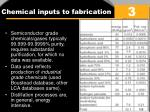 c hemical inputs to fabrication