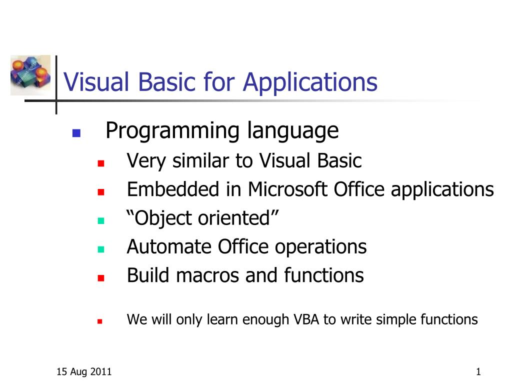 visual basic for applications l.