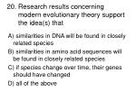 20 research results concerning modern evolutionary theory support the idea s that