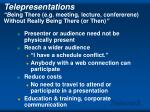 telepresentations b eing there e g meeting lecture confererene without really being there or then