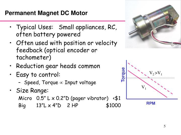 Ppt motors batteries gear trains powerpoint for Surplus permanent magnet dc motors