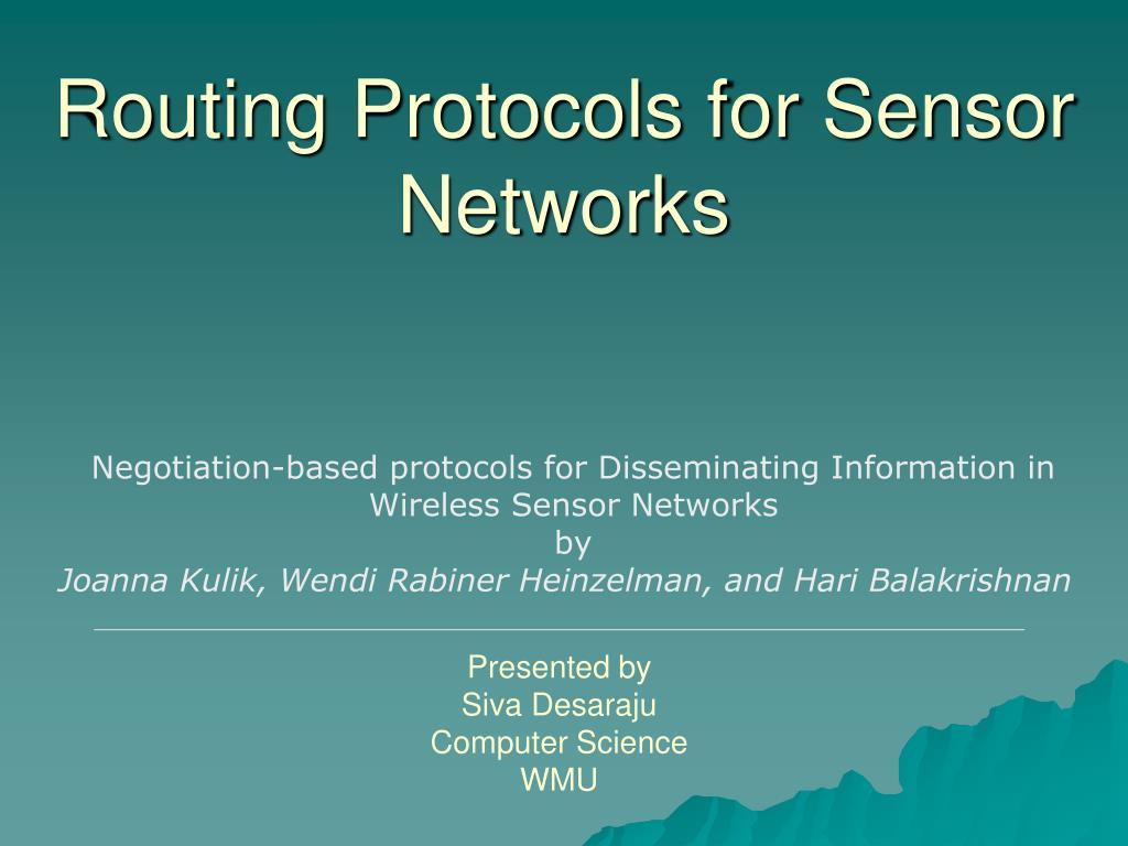routing protocols for sensor networks l.