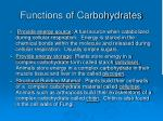 functions of carbohydrates