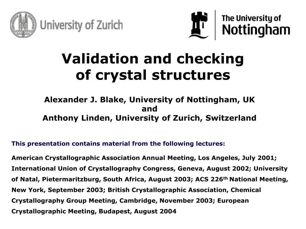 validation and checking of crystal structures l.