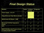 final design status