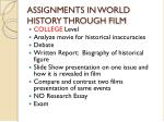 assignments in world history through film