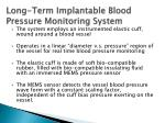 long term implantable blood pressure monitoring system