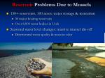 reservoir problems due to mussels