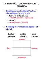 a two factor approach to emotion