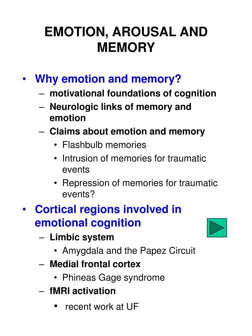 emotion arousal and memory l.